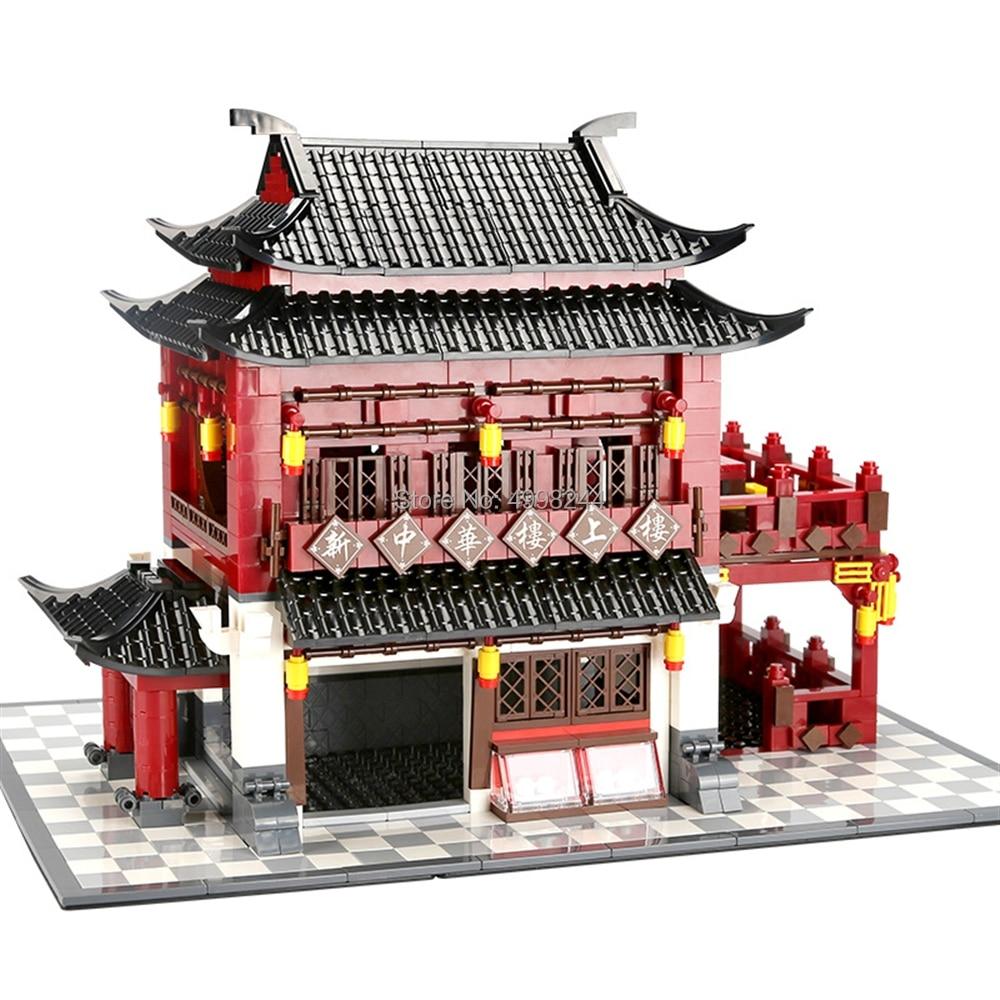 6312 1643pcs wange world famous architecture chinese style model china ancient hotel building blocks Bricks Toy