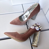 New Velvet Floral Spring Party Wedding Shoes Woman Pumps Luxurious Cutouts High Heel Crystal Thick Heels Slip on Elegant Shoes