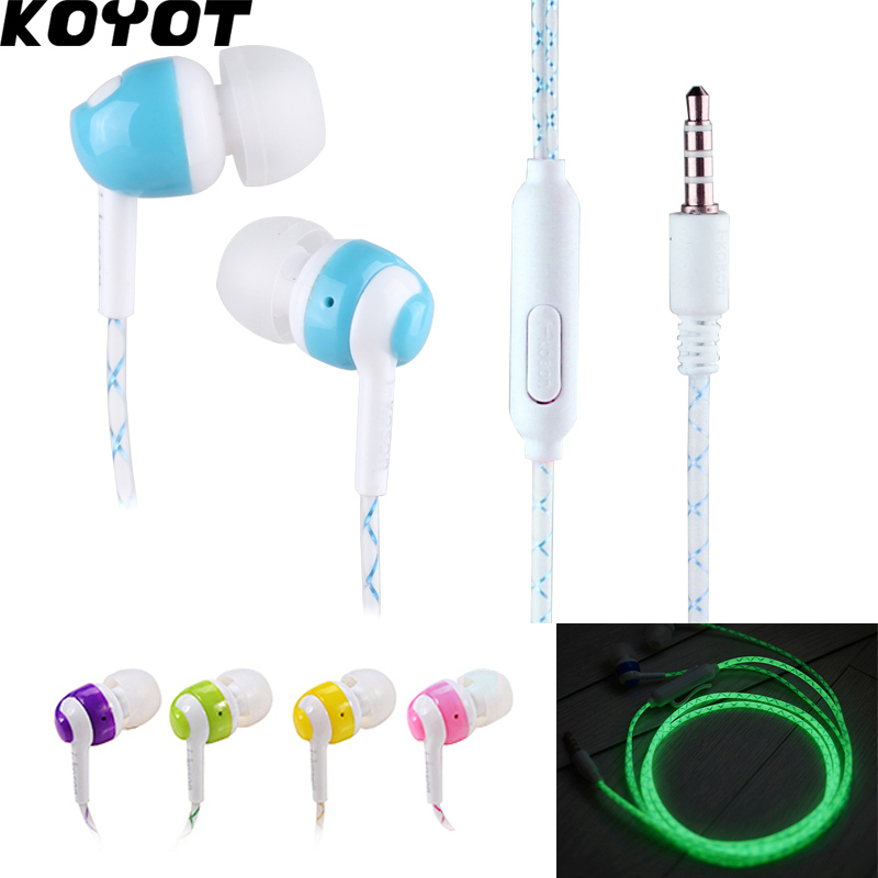 KOYOT Glow In The Dark Earphones In-Ear Earbuds Super Bass Stereo Luminous Headset Glowing Handsfree With Mic luminous glow sand super bright noctilucent sand diy wishing sand 50g lot glow in the dark for wishing glass bottle