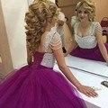 Moda ElegantPurple Quinceanera Vestido Lindo Beading Até O Chão Vestidos vestido de debutante Doce 16 Ball Vestidos de Festa de Aniversário