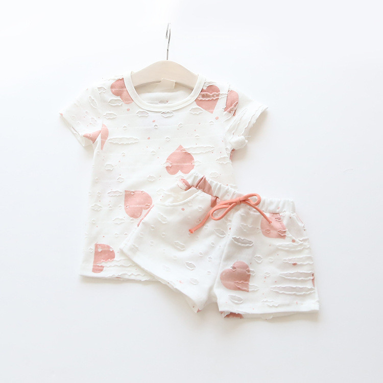 HTB153weQXXXXXaJXVXXq6xXFXXXW - 2pcs/sets,Casual Kids Clothing Baby Girls Clothes Sets Summer Heart Printed Girl Tops Shirts + Shorts Suits Children's Clothing