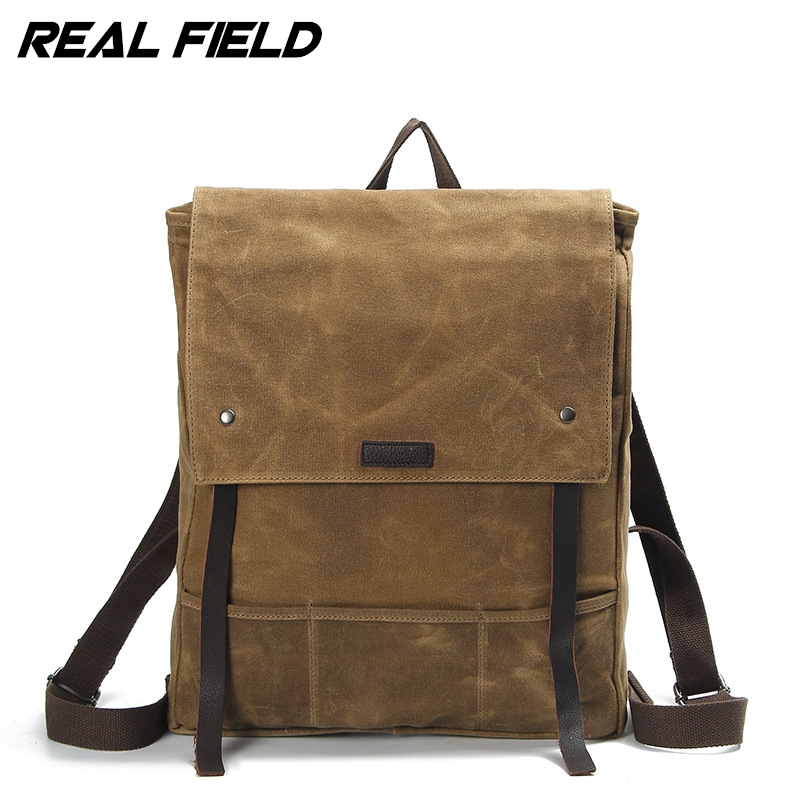 Real Field Canvas Backpack Travel School Bag Male Backpack Men Large Capacity Rucksack Shoulder School Bag Mochila Escolar 255 children school bag minecraft cartoon backpack pupils printing school bags hot game backpacks for boys and girls mochila escolar