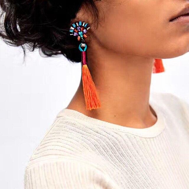 Vodeshanliwen Nuevos Colores ZA Declaración Cuelga Los Pendientes de Gota Largos Pendientes Borla de La Manera de La Vendimia De Mujer de Marca de Joyería de La Boda