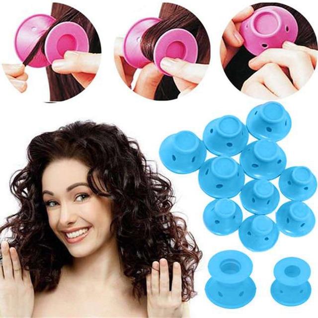 10 unids/set goma suave rodillo mágico para el cuidado del cabello rizador de pelo de silicona herramienta de estilismo de pelo azul