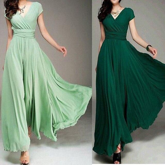 Vestido verde bandera largo
