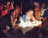 Details about Handmade Oil Painting repro Gerard van Honthorst Nativity of Jesus 30x40