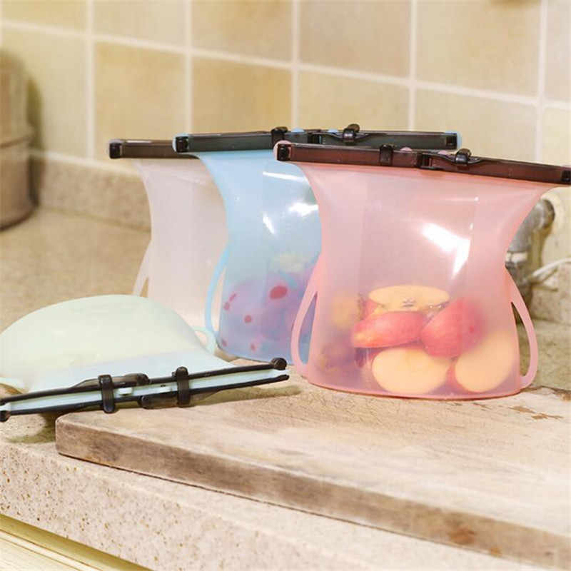 1PC Reusable Seal Silicone Food Fresh Bag Vacuum Sealer Fruit Meat Milk Storage Bags Kitchen Accessories Dropshipping
