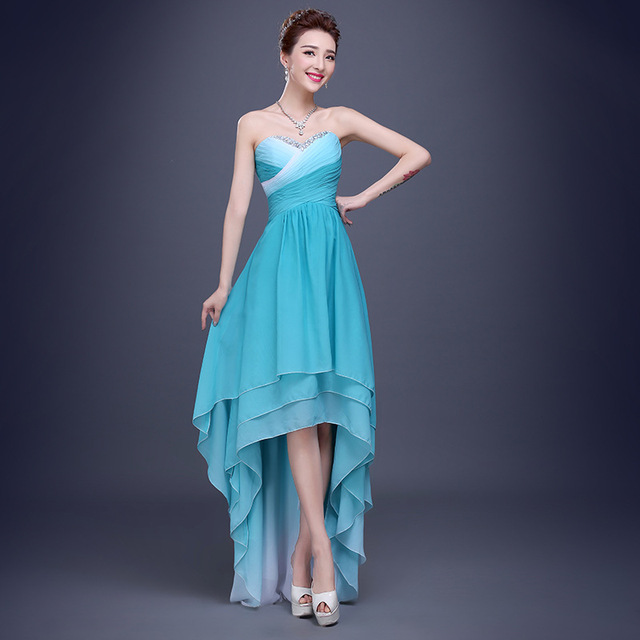 07beeed764c2 High Low Light Aqua Ombre Prom Dress with Beading Corset Back Chiffon Short  Formal Party Dress