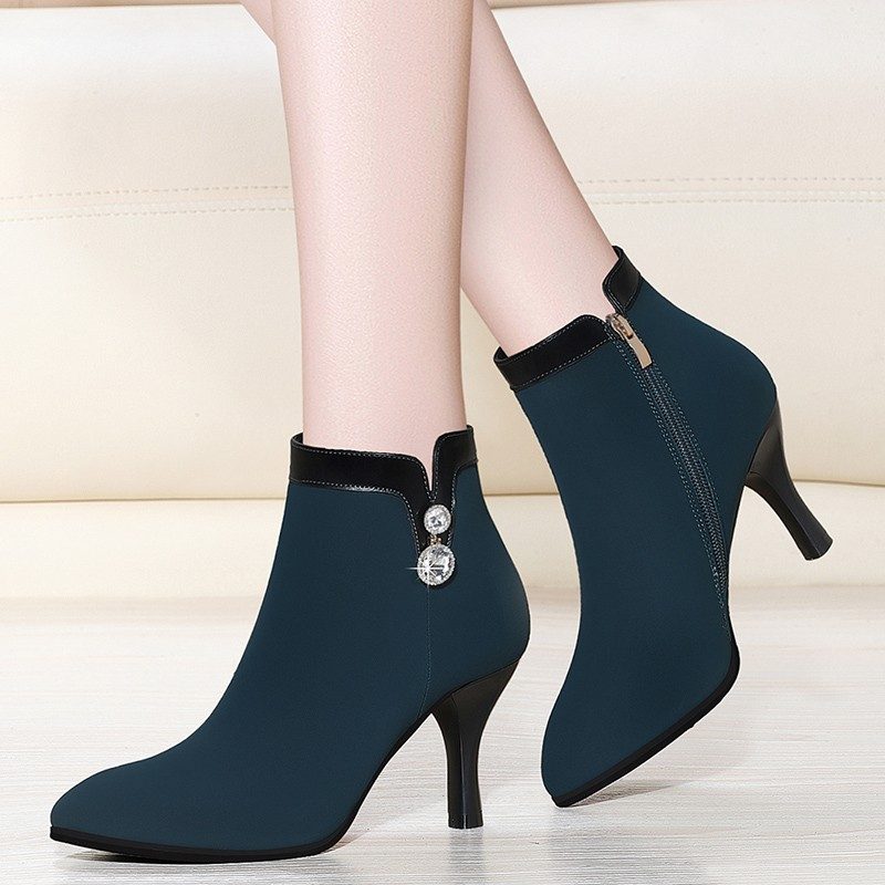2019 New Arrival Fashion Shoes Women Cow Suede Leather Ankle Boots Pointed Toe High Heel Boots Female Sexy Shoes YG-A0216