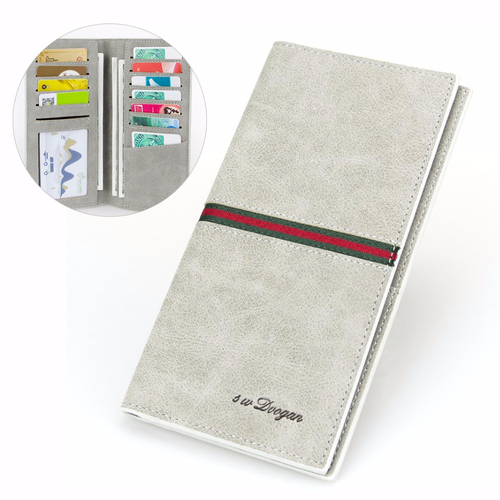 High Quality Man Gray Wallet Coloful Stripes Long Wallet Men Leather Wallet Money Purse Card Holder Minimalist Casual Wallet