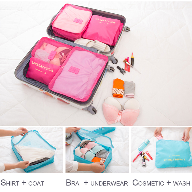 Storage Set Nylon Pieces Waterproof Unisex Clothing 6 Travel IUX Of Capacity Zipper Bags Packing One Sorting Cube Big 3