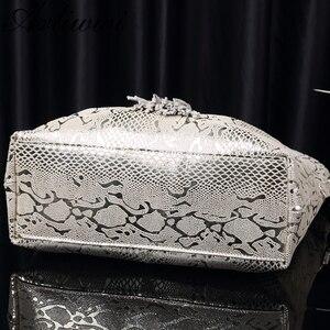 Image 5 - Arliwwi Brand New Quality Serpentine Grain Suede Cowhide Classical Designer Genuine Leather Handbags With Elegant Tassel GB01