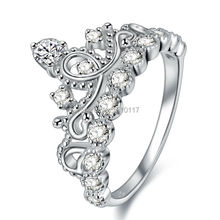 Nuevo Anillo de la Corona de Plata de Ley 925 Anillo de Bodas Para Las Mujeres Princesa Cut anillo de Compromiso Band Tamaño 5 6 7 8 9