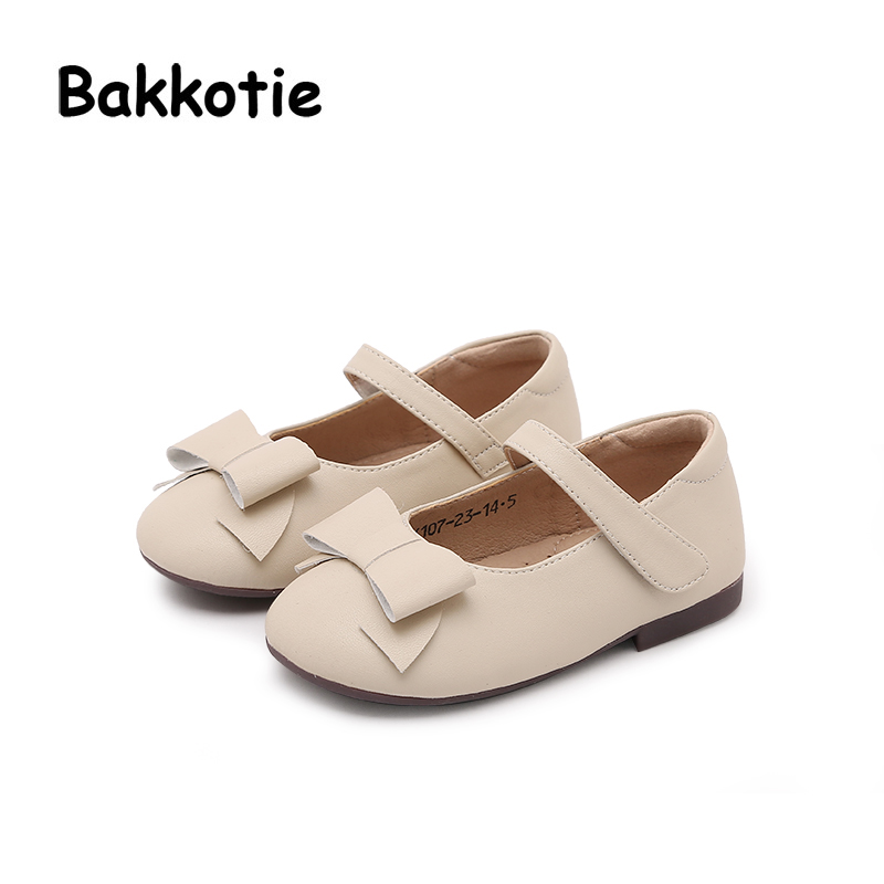 Bakkotie 2018 Spring Baby Girl New Fashion Pu leather Bow Flat Child Casual Princess Party Pink Shoe kid Brand Mary Jane Toddler