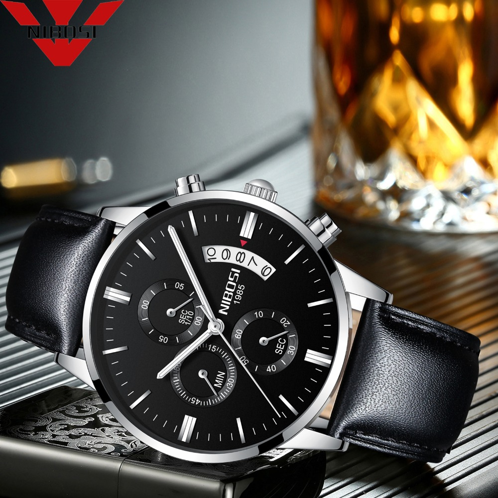 NIBOSI Men Watch Leather Wristwatches Business Male Sport Quartz Clock  Chronograph Quartz Relogio Masculino Men Sports WatchesNIBOSI Men Watch Leather Wristwatches Business Male Sport Quartz Clock  Chronograph Quartz Relogio Masculino Men Sports Watches