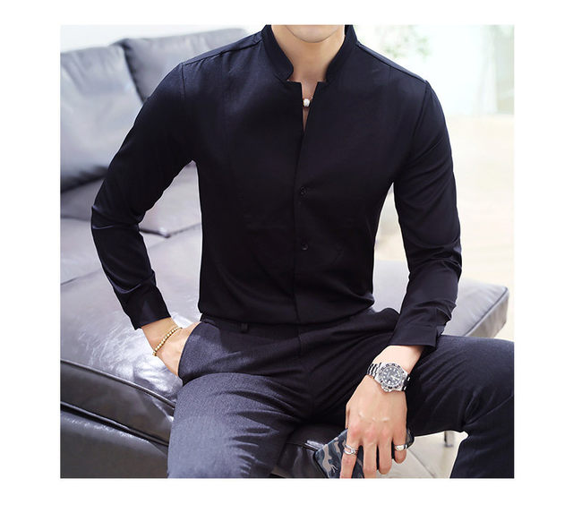 Fall Winter Stand Collar Mens Long-sleeved Dress Shirts Black Red White Slim Elegant Youth Male Business Wedding Formal Shirt 34