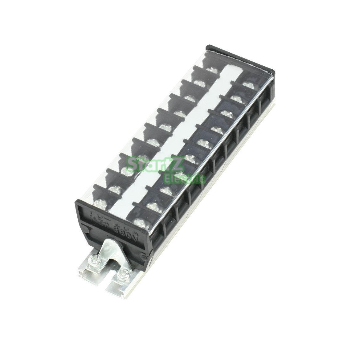 1Pcs 660V 20A Din Rail Screw Connector Electric Terminal Barrier TD-2010 5 pcs 400v 20a 7 position screw barrier terminal block bar connector replacement