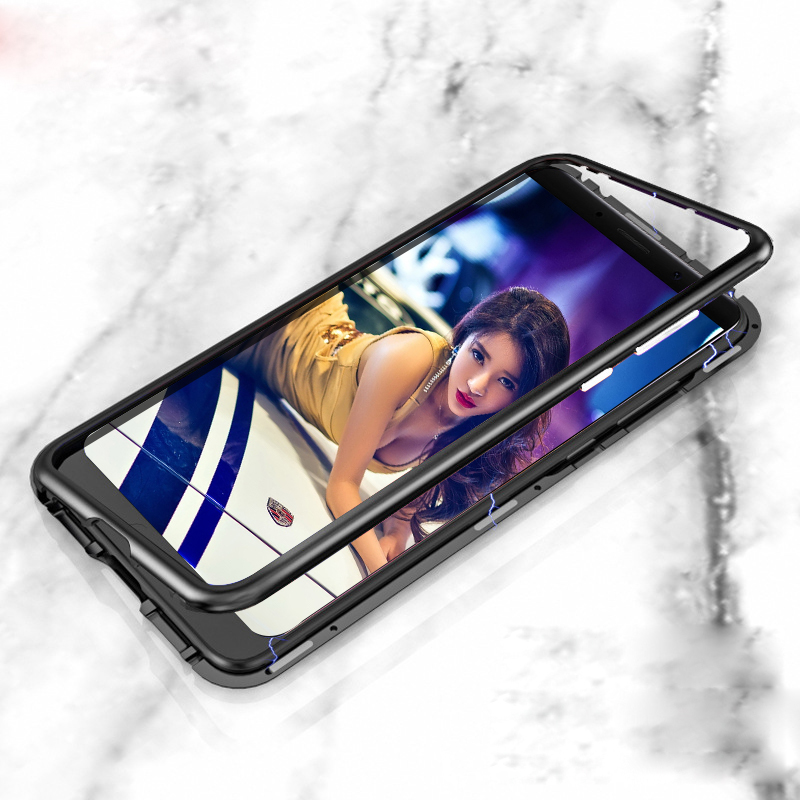 P20 Lite Caso Freddo Metallo di Alluminio Adsorbimento Magnetico + Cornice In Vetro Temperato di Caso Per Huawei P20 Pro Honor 10 Compagno 10 Pro P20