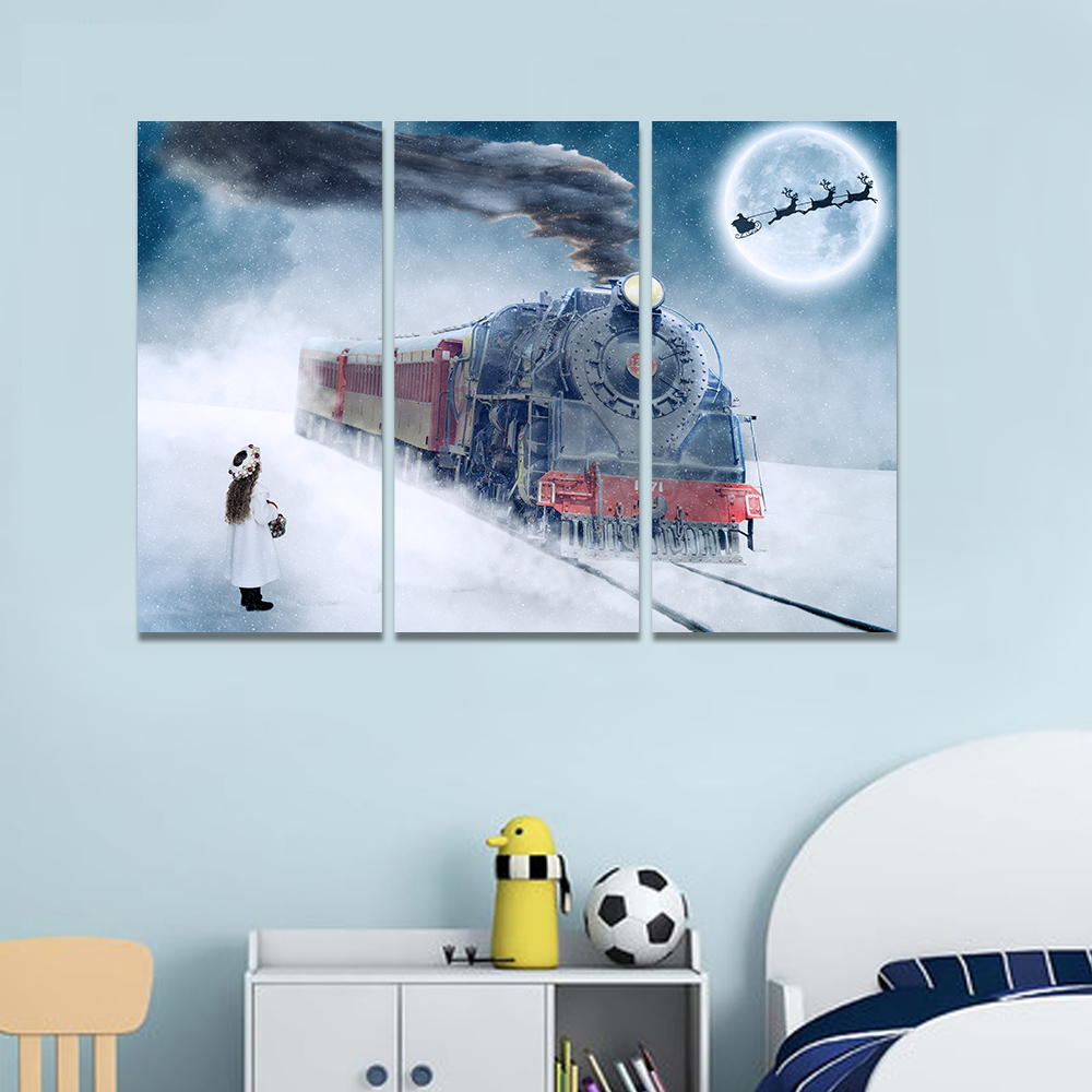 Unframed Canvas Art Painting Little Girl Snowy Train Full Moon Picture Prints Wall Picture For Living Room Wall Art Decoration