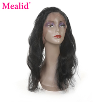 Mealid Brazilian Body Wave Pre Plucked 360 Frontal Non Remy Natural Color 10 20 Lace