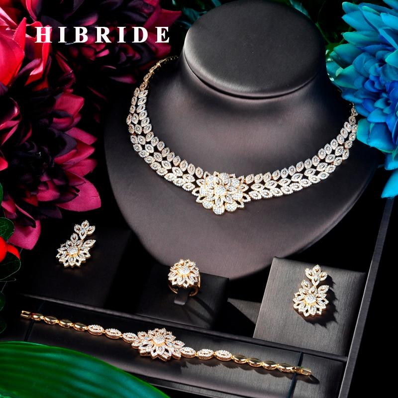 Здесь можно купить  HIBRIDE Big Flower Shape Cubic Zircon Women 4 pcs Jewelry Set Dress Necklace Earring Jewelry Set For Party Gits N-874  Ювелирные изделия и часы