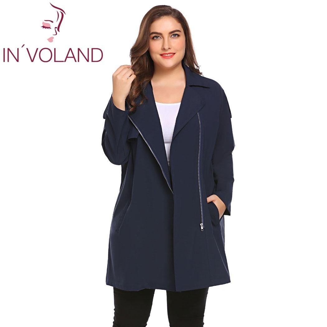 IN'VOLAND Plus Size 4XL Women Trench Coat 2018 Autumn Lapel Long Sleeve Full Zip Feminino Large Windbreaker Overcoats Big Size