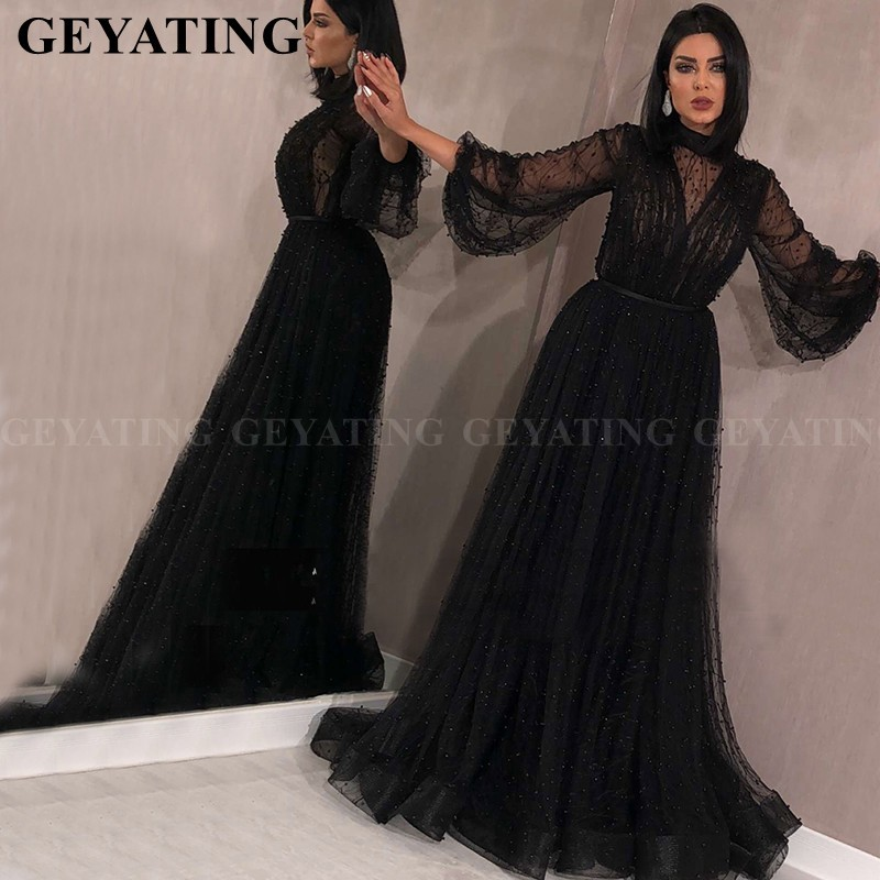 Elegant Black Muslim Long Sleeves   Evening     Dress   2019 Saudi Arabic High Neck Pearls Tulle Pink Kaftan Dubai Prom   Dress   Plus Size