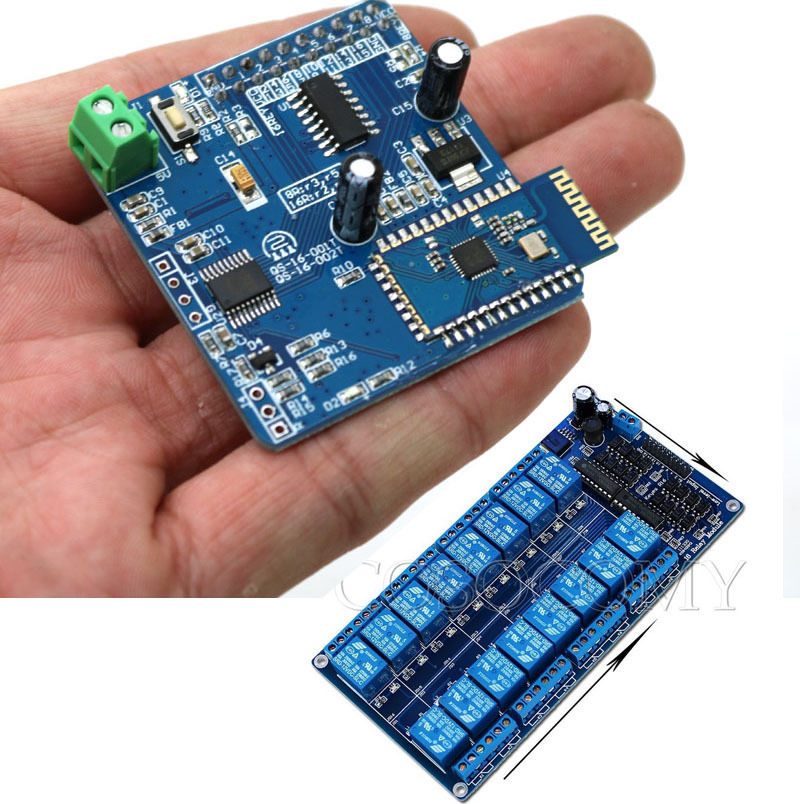 16 Channel Module + 16CH Bluetooth Relay Merge Android Remote Control Switch Motor Light Phone APP