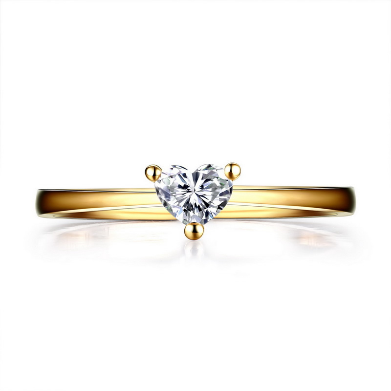 ANI 18K Yellow Gold (AU750) Wedding Ring 0.2 CT Certified I/SI Eternity Love Heart Cut Natural Diamond Ring for Women Engagement