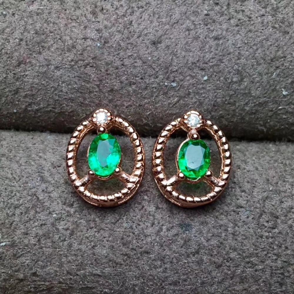 Natural Green Emerald Small Hemp Stud Earrings Gemstone Elegant Round S925 Silver Women Jewelry In From