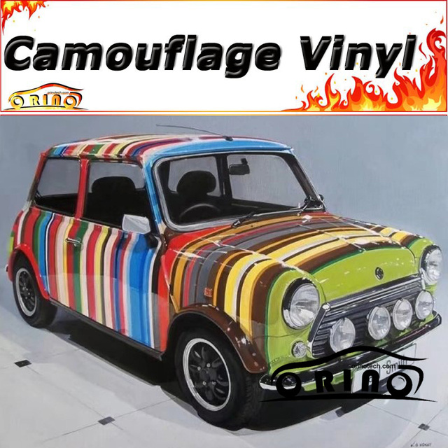 Car Styling Rainbow Camo Wrapping Vinyl Camouflage Wrap Sticker Film Motorcycle Bike Truck Vehicle Body