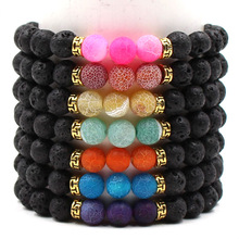 8mm Seven Colours Natural Stone Beads Bracelets Men Women Same Paragraph Reiki Prayer Lava Charm Bracelet Trendy Jewelry