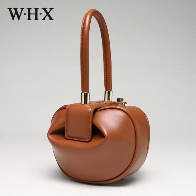 WHX Marca Do Desenhador Do Vintage de couro Genuíno Sacos de Mulheres do Sexo Feminino Top-handle Totes Senhoras Bolsas Hobos saco pacote Wonton