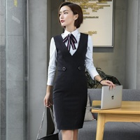 Autumn Winter Sleeveless Dress For Ladies Office Fashion Striped Busines Work Wear Female Tops Clothes Plus