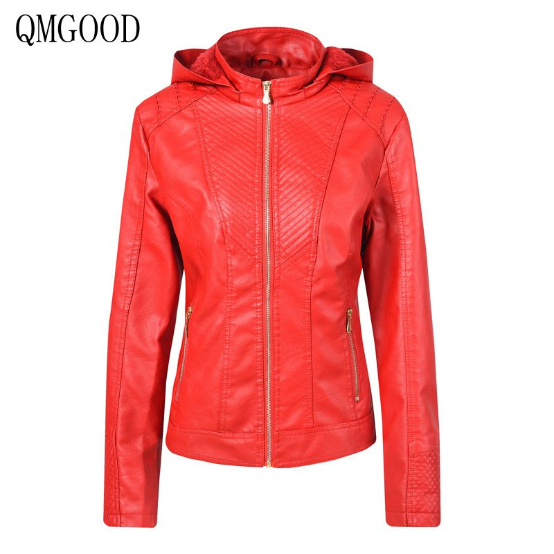 QMGOOD Plus Velvet   Leather   Jacket Women Hoodies Winter Autumn Motorcycle Jacket Thick Outerwear Faux   Leather   PU Jacket Coat Red