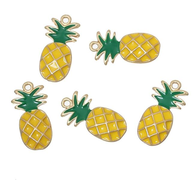 "DoreenBeads Charm Pendants Pineapple Gold Color Yellow Green Enamel 23mm( 7/8"") x 12mm( 4/8""), 10 PCs"
