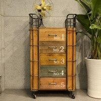 Американская деревенская Ретро железная рама деревянная с пятью ящиками креативные шкафчики роликовые шкафы для хранения оптовая продажа