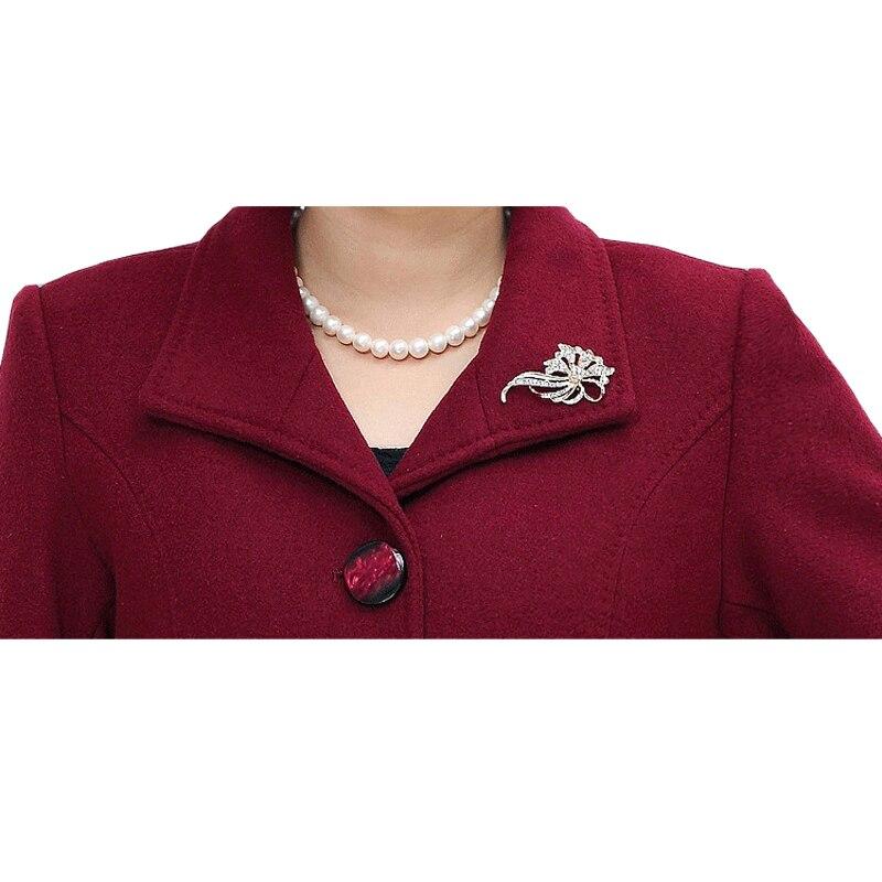 2019 Hot Sale L-5XL Middle-aged Elegant Blend High Quality Women Cashmere Coat Female Warm Outwear Plus Size Mother JacketsXH115