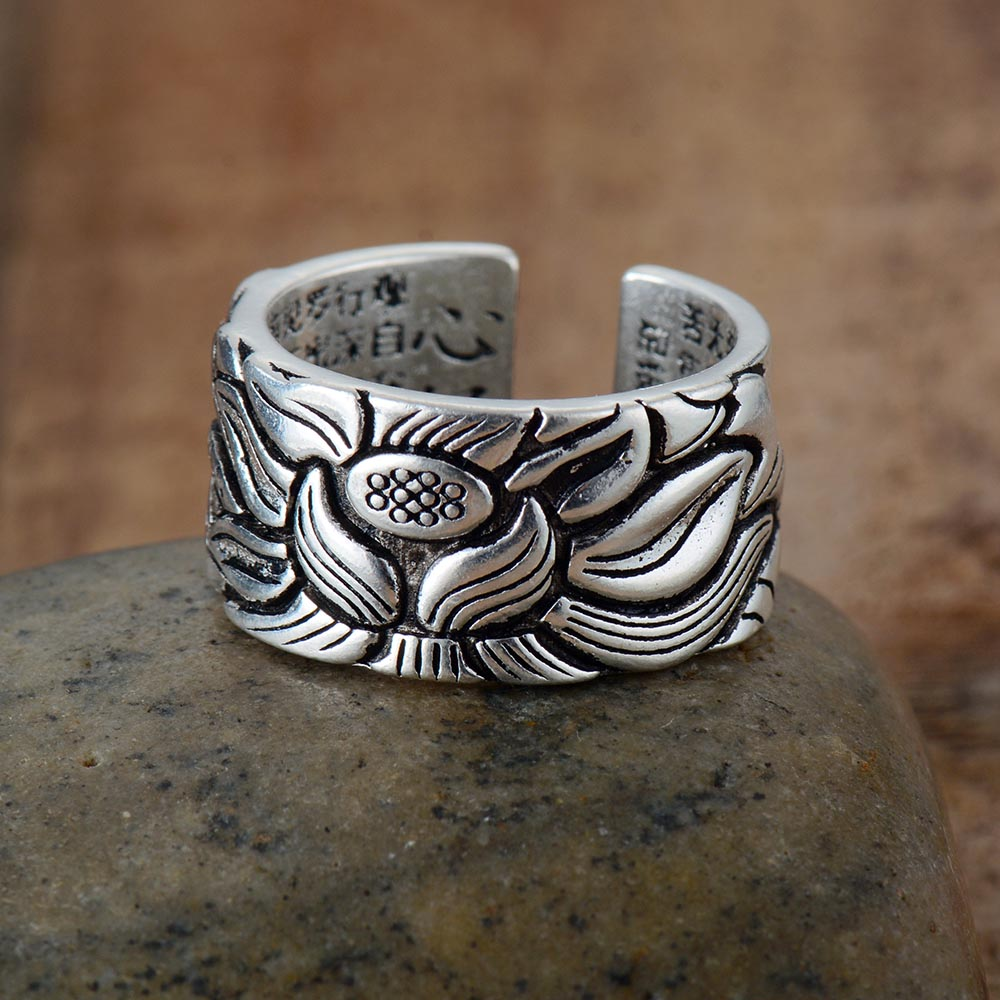 Lotus Flower Open Ring For Lovers Men Women Fashion Free Size Buddhistic Heart Sutra Rings Gifts