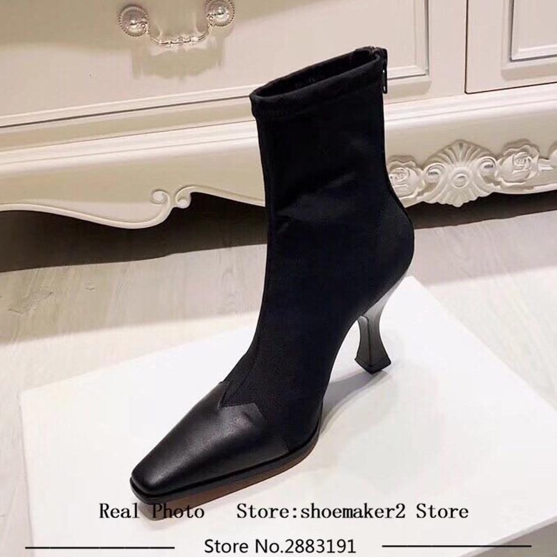 2018 neueste Stretch Socke Stiefel Frauen Leder Karree Patchwork Seltsame Ferse Schuhe Frau Mode Stiefeletten Sommer-in Knöchel-Boots aus Schuhe bei  Gruppe 3
