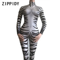 Sexy Zebra Printed Stretch Jumpsuit Rhinestones Stage Wear Bodysuit Female Singer Show Outfit Bar Nightclub Cosplay Costume