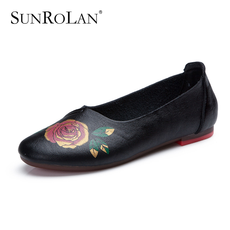 SUNROLAN 2017 Plus Size 10 Spring Summer Women's Flats Shoes Women Ballet Folk Style Shoe Ladies Shoes Slip on Flats Loafers 185 new 2017 spring summer women shoes pointed toe high quality brand fashion womens flats ladies plus size 41 sweet flock t179