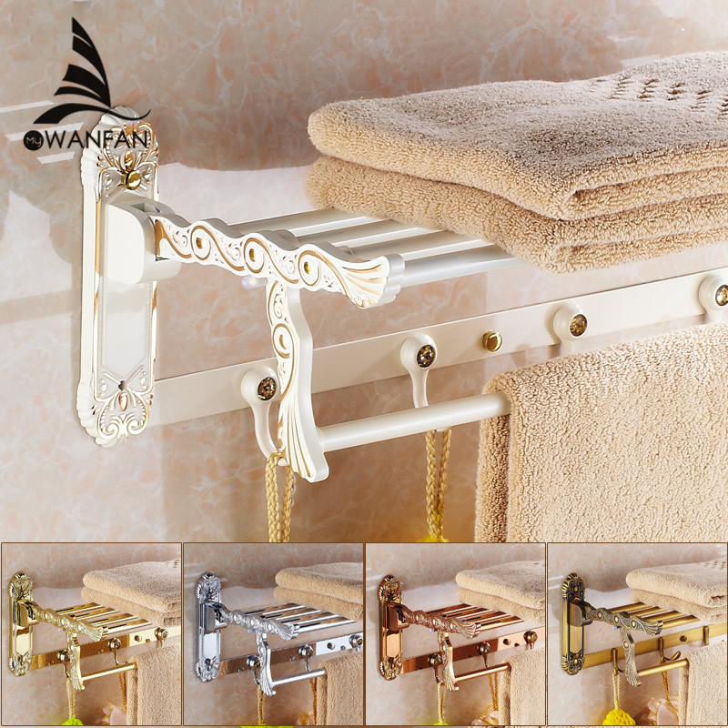 Bathroom Shelves Folding Rails Brass White Towel Rack Bath Holder Hanger Towel Bars Wall Mount Luxury Home Deco Towel Shelf 7641 bathroom shelves 5 towel hooks brass 2 tier rails towel bars wall shelf bath hangers bathroom accessories towel holder fe 8601