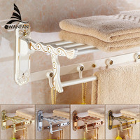 Bathroom Shelves Folding Rails Brass White Towel Rack Bath Holder Hanger Towel Bars Wall Mount Luxury Home Deco Towel Shelf 7641