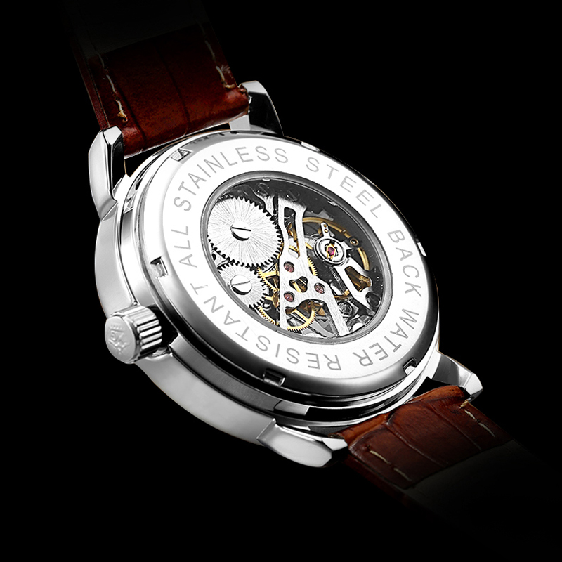 Image 4 - 2020 New Brand MG ORKINA Clocks Men Watches Leather Strap Mechanical Wristwatch Silver Skeleton Watch Transparent Hollow DesignMechanical Watches   -
