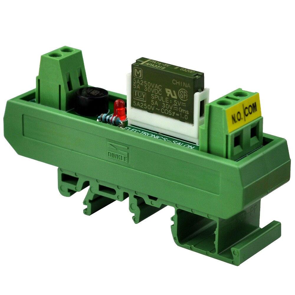 Electronics-Salon AC/DC 5V Slim DIN Rail Mount 5Amp SPST-NO Power Relay Interface Module, PA1a-5V.