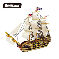 Robotime 3D Wooden Puzzle Assembled Size 38 15 29cm Wood Ship Model Kid 3 Year Educative