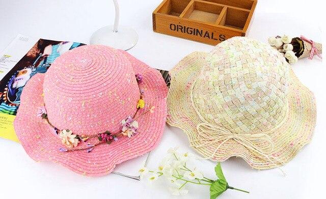 Девушки летом детские соломенные Шляпы 2017 Мода Большой Цветок Шапки маленькая шляпа УФ-защита от Солнца Флоппи Пляж Hat открытый