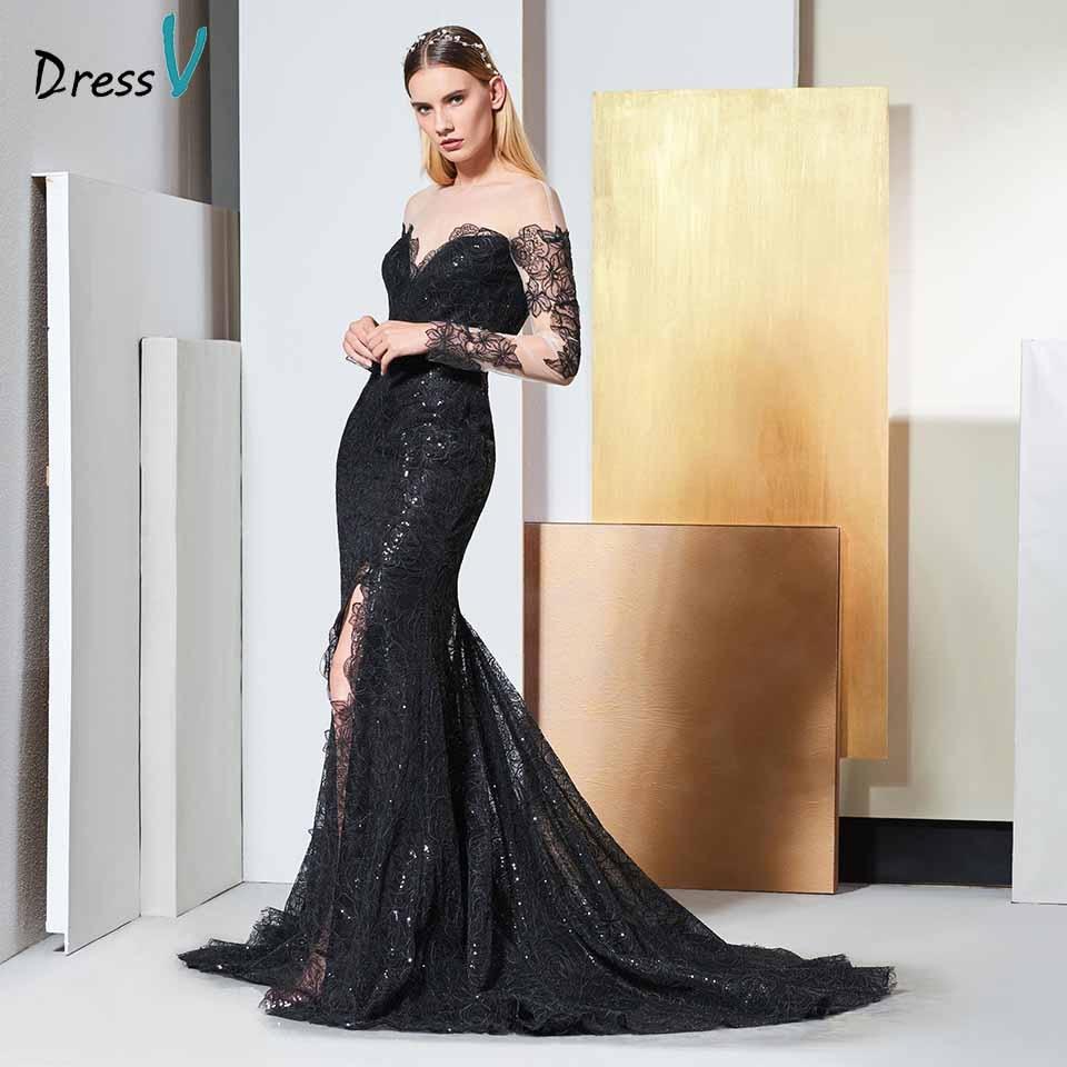 Dressv Black Elegant Long Sleeves Lace Evening Dress Sequins Floor Length Wedding Party Formal Gown Dress Evening Dresses