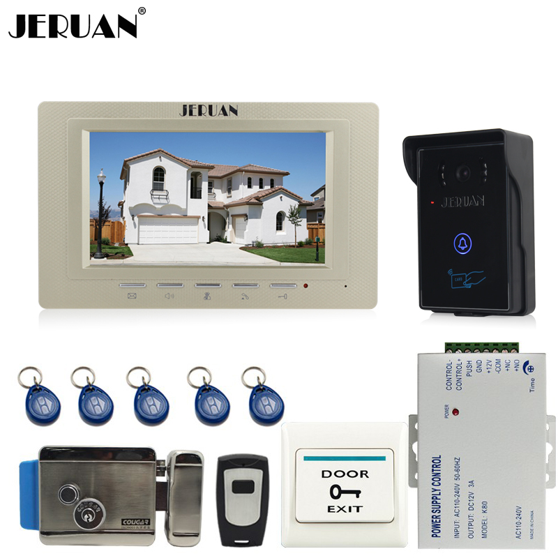 JERUAN 7 inch Video Intercom Video Door Phone System 1 monitors + 700TVL RFID Access Waterproof Touch key Camera+Electronic lock jeruan 7 inch video door phone intercom system kit rfid touch key waterproof access camera 180kg magnetic lock remote control